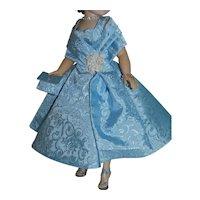 "Blue Brocade Dress w/ Attached Shawl for Vintage Cissy Doll 20"""