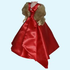 Red Satin Evening Gown & Mink Stole for Vintage Cissy Doll