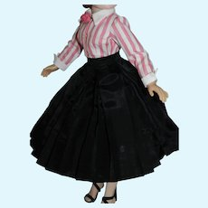"""Black Taffeta Pleated Skirt and Pink & White Cotton Blouse for Vintage 20"""" Cissy Doll"""