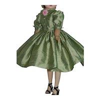 "Shirtwaist Day Dress of Silk Dupioni for 20"" Vintage Cissy Doll"
