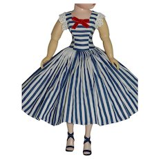 New! Sundress of Navy & White Cotton for Vintage Cissy Doll