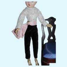 New! Black Velvet Slacks Lace Blouse & Sash for Vintage Cissy