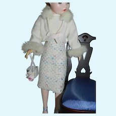 "Wool Tweed Skirt Cashmere & Mink Fur Sweater Set for Vintage Cissy 20"" Doll"