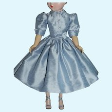 "Shirtwaist Day Dress of Silk Dupioni for 20"" Vintage Cissy Doll"