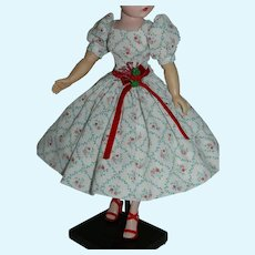 "Cute Dress of Floral Dimity w Holiday Colors for 20"" Cissy Revlon Doll"