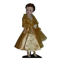 Gold Satin Evening Gown / Dress for Vintage Cissy