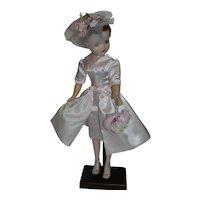 pink Satin Sheath Dress & Overskirt for Vintage Cissy Doll