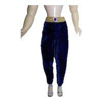 Sapphire Blue Velvet Slacks for Vintage Cissy Doll