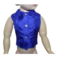 Blue Sapphire Silk Taffeta Blouse for Vintage Cissy Doll