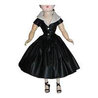 Black Polished Cotton Dress for Vintage Alexander Cissy Doll