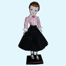 Black Pleated Taffeta Skirt - Blouse & Belt for Vintage Cissy Doll