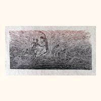 Original Large Woodcut Print Male Figures Models Surge Awakening Earth Energy Fiber Paper