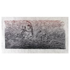 Original Large Woodcut Print Male Figures Models Surge Awakening Earth Energy Fiber Paper