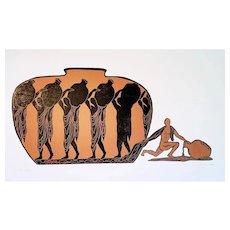 Original Woodcut Print Outsider Copper Vessel Greek Vase Figures Rebel Male