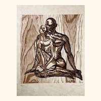 Original Woodcut Earthtones Couple Man Woman Together Sitting in Classic Pose