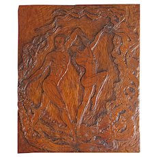 Baile del Sol Original Flamenco Dance Hand-carved Cherry Bas Relief Woodblock