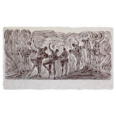 Surreal Large Original Woodcut Figures Dance Waltz Couple in Flowing Movement