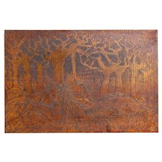 Uprooted Original Hand-carved Siberian Birch Relief Woodblock Males Classic Pose Mounted Framed 30x40 in