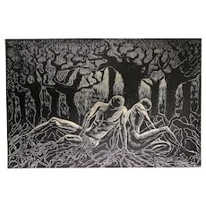 Original Woodcut Print Uprooted Large Figurative Art Classic Male Figures