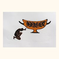 Original Woodcut Print Pot Of Gold Greek Copper Vessel Figures Woodblock Embossed Paper