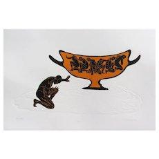 Original Woodcut Print Pot Of Gold Greek Copper Vessel Figures Woodblock Embossed Paper