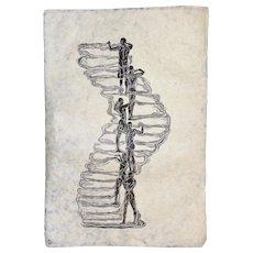 Woodcut Print Original Woodblock Art Surreal Male Figures Classic Pose Human Tower