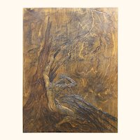 As If Struck by Lightning Storm Original Hand-carved Baltic Birch Relief Woodblock Mounted Framed