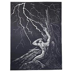 Original Woodcut Print Classic Black White Male Model Pose Tree Struck by Lightning Night