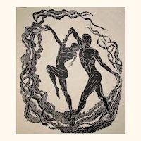 Large Original Woodcut Print Flamenco Dance of the Sun Handmade Paper