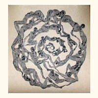 Original Woodcut Print Oculus Surreal Mandala Eye Figures in Circle