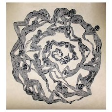 Original Woodcut Print Oculus Surreal Mandala Eye Figures in Circle