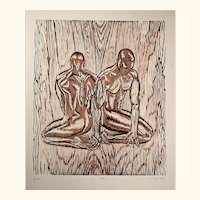 Original Woodcut Print Male Figures Classic Model Pose