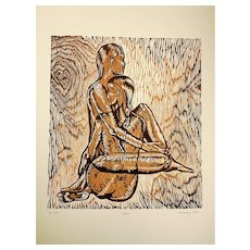 Earthtones Original Woodcut Print Women Sisters