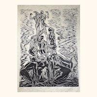 Woodcut Print Figures Human Tower Castle Castellets Strong Man Acrobats