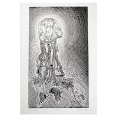 Original Wood Engraving Surreal Globe Human Figures Embracing World