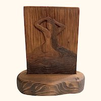 In the Shallows Classic Beauty Original Hand-carved Cherry Relief Woodblock Female Nude Bather