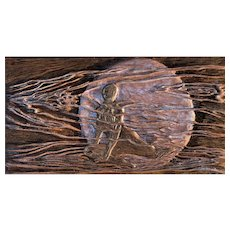 Moonshadow Original Woman in Night Moon Hand-carved Cherry Woodblock Relief