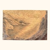 Hija del Sol Original Hand-carved Cherry Woodblock Surreal Woman with Sunset Lake