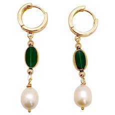 Oval Emerald Green Art Deco Earrings