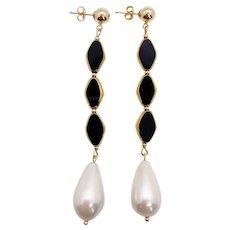 Black Diamond Trinity Art Deco Earrings