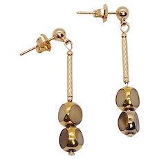 Tri-cut Taupe Marble Art Deco Earrings