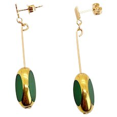 Rare Emerald Green Tri-cut Art Deco Earrings