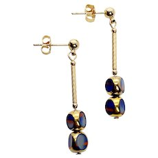 Rare Tri-Cut Marble Blue Art Deco Earrings