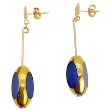 Matte Blue Tri-Cut Art Deco Earrings