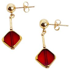 Ruby Red Art Deco Earring