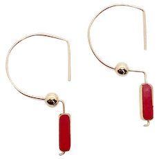 Opaque Ruby Red Art Deco Earring