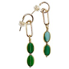 Double Emerald Green Oval Art Deco Earrings