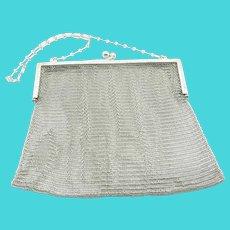 R. Blackinton & Co. Sterling Silver Mesh Purse,  Paper Clip Chain Strap 4681, 220 Grams