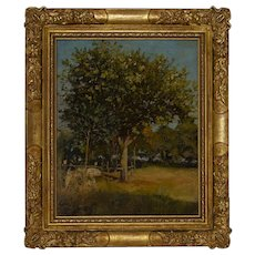 Sunlit Orchard French impressionist 19th-century oil on panel