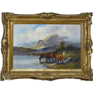 """Highland Cattle"""" By Charles W Oswald (British FL 1890 – 1899) Oil on canvas"""